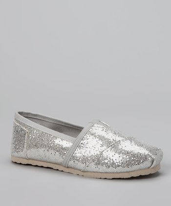 Chatties Silver Sparkle Slip-On Shoe