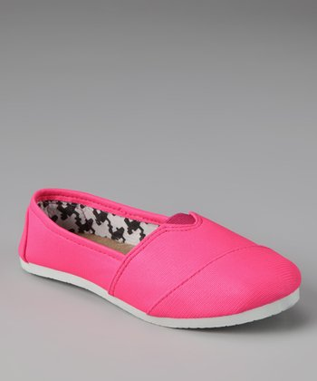 Chatties Neon Pink & Houndstooth Slip-On Shoe