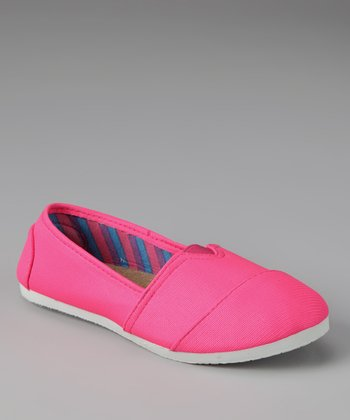 Chatties Neon Pink Striped Slip-On Shoe