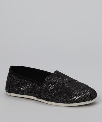 Chatties Black Shimmer Slip-On Shoe