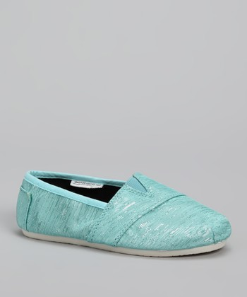Blue Shimmer Slip-On Shoe
