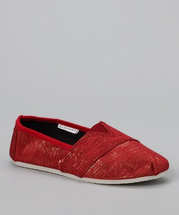 Chatties Red Shimmer Slip-On Shoe