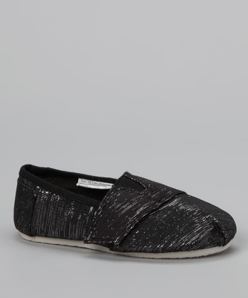Chatties Black Shimmer Strap Slip-On Shoe