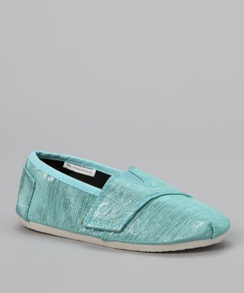 Chatties Blue Shimmer Strap Slip-On Shoe