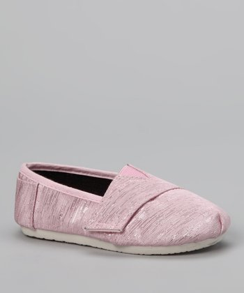 Chatties Light Pink Shimmer Strap Slip-On Shoe