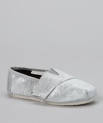 Chatties Silver Shimmer Strap Slip-On Shoe