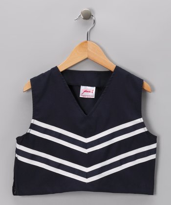 Navy V-Neck Cheerleader Tank - Girls