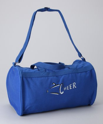 Royal Blue & White 'Cheer' Megaphone Duffel Bag