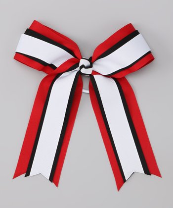 Red & White Bow Hair Tie