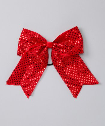 Red Sequin Bow Hair Tie