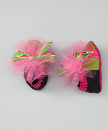 Chelsea Baby Hot Pink & Black Bow-Wow Booties