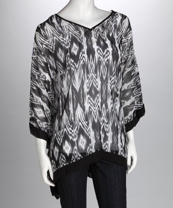 Black & Ivory Plus-Size Cape-Sleeve Top