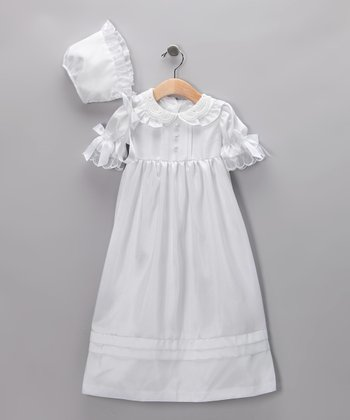 White Victorian Christening Gown & Bonnet