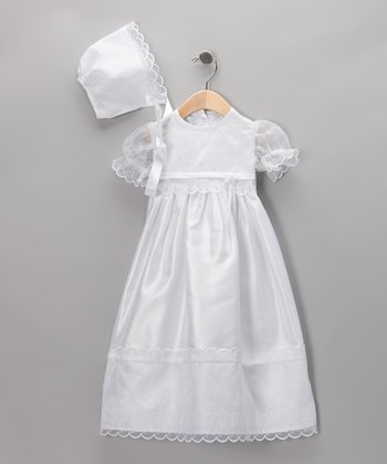 White Shantung Christening Gown & Bonnet