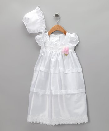 Cherish the Moment White Lace Christening Gown Set - Infant