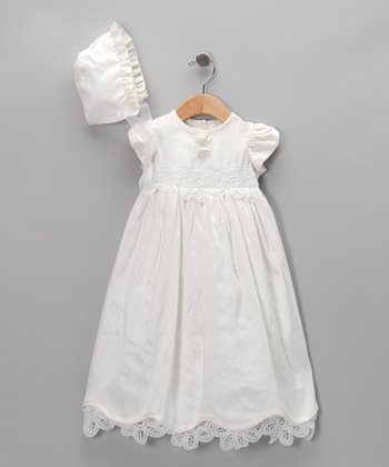 Cherish the Moment White Silk Christening Gown Set - Infant