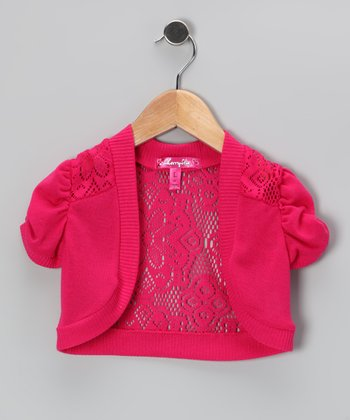 Pink Lace Puff-Sleeve Shrug - Toddler