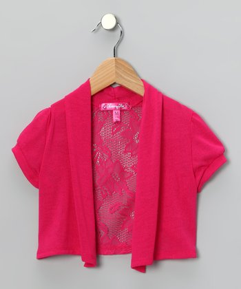 Pink Lace-Back Shrug - Girls
