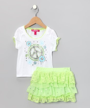 Lime Peace Top & Ruffled Skirt