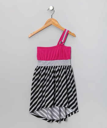 Fuchsia Studded Asymmetrical Hi-Low Dress - Toddler & Girls