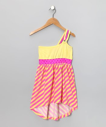 Lemon Studded Asymmetrical Hi-Low Dress - Toddler & Girls