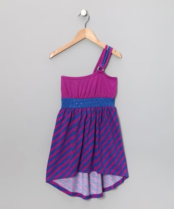 Royal Studded Asymmetrical Hi-Low Dress - Toddler & Girls
