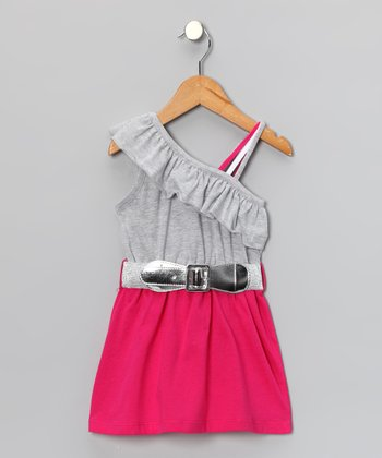 Fuchsia Ruffle Belted Asymmetrical Dress - Toddler