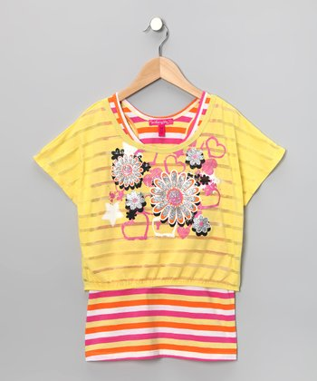 Lemon Glitter Flower Crop Top & Tank - Toddler