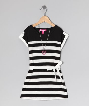 White Stripe Dress & Necklace - Girls