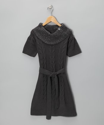 Cherry Stix Steel Gray Cowl Neck Sweater Dress - Girls