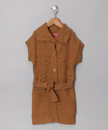 Cherry Stix Brown Button-Up Duster - Toddler & Girls