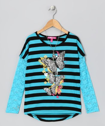 Cherry Stix Black & Aqua Stripe Lace Top & Necklace - Girls