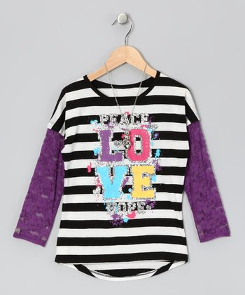 Cherry Stix Black & Purple Stripe Lace Top & Necklace - Girls