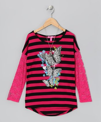 Black & Pink Stripe Lace Top & Necklace - Girls