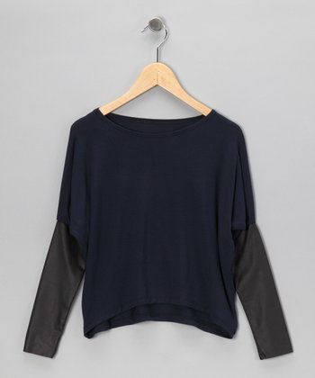 Navy Faux Leather Layered Top - Girls