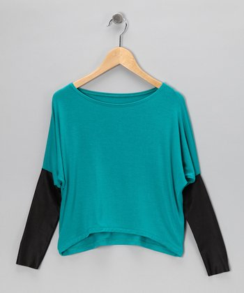 Teal Faux Leather Layered Top