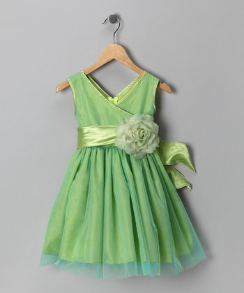 Lime Green Flower Surplice Dress - Toddler & Girls