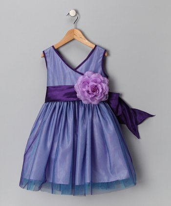 Purple Flower Surplice Dress - Toddler & Girls