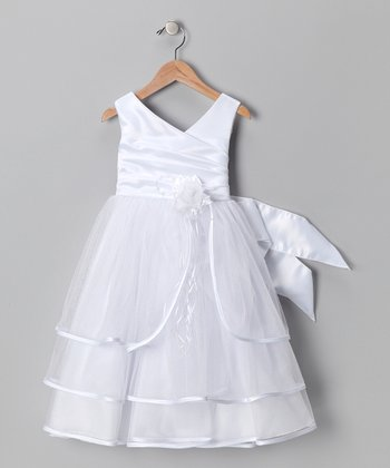 White Tiered Satin Dress - Toddler & Girls