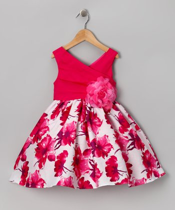Chic Baby Fuchsia Floral Surplice Dress - Girls