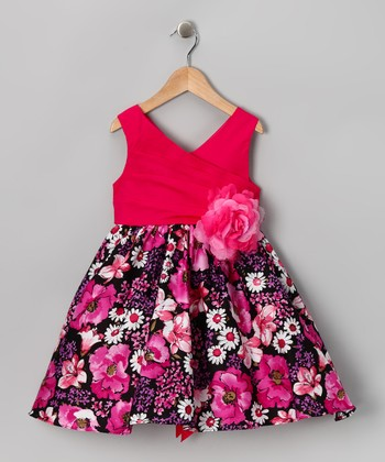 Fuchsia & Black Floral Surplice Dress - Girls