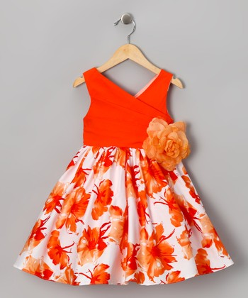Chic Baby Orange Floral Surplice Dress - Girls