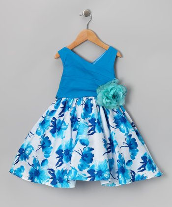 Chic Baby Turquoise Floral Babydoll Dress - Girls