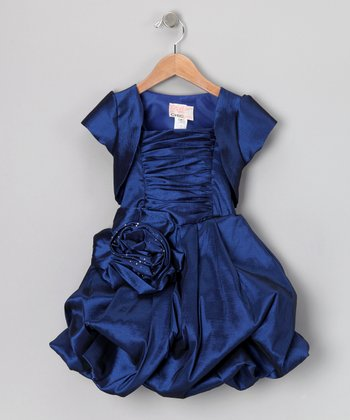 Navy Blue Pleated Bubble Dress & Shrug - Toddler & Girls