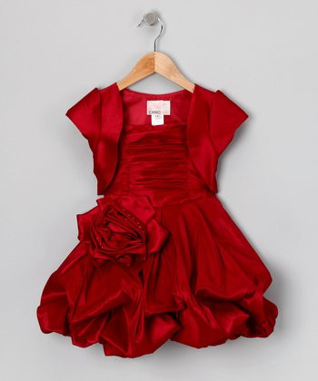 Ruby Red Pleated Bubble Dress & Shrug - Toddler & Girls