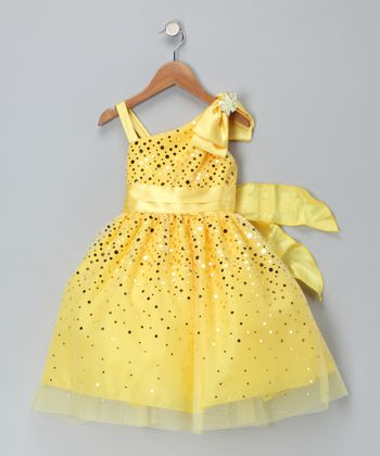 Chic Baby Yellow Glimmer Dress - Toddler & Girls