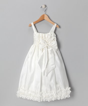 Chic Baby Ivory Sheen Ruffle Dress - Toddler & Girls