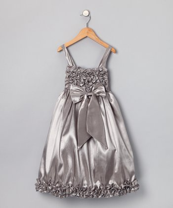 Chic Baby Silver Sheen Ruffle Dress - Toddler & Girls