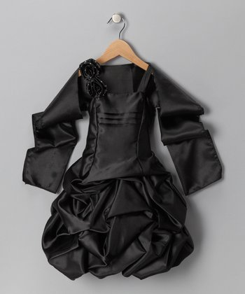 Black Gathered Dress & Shawl - Toddler & Girls