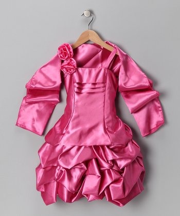 Pink Rosette Satin Pickup Dress & Shawl - Toddler & Girls